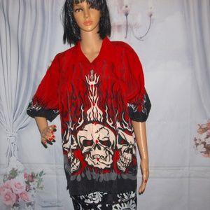 Flaming Skull Shirt Halloween Shirt 100% Polyester